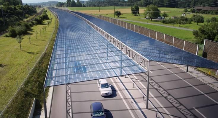Над европейскими автомагистралями появятся навесы из солнечных батарей